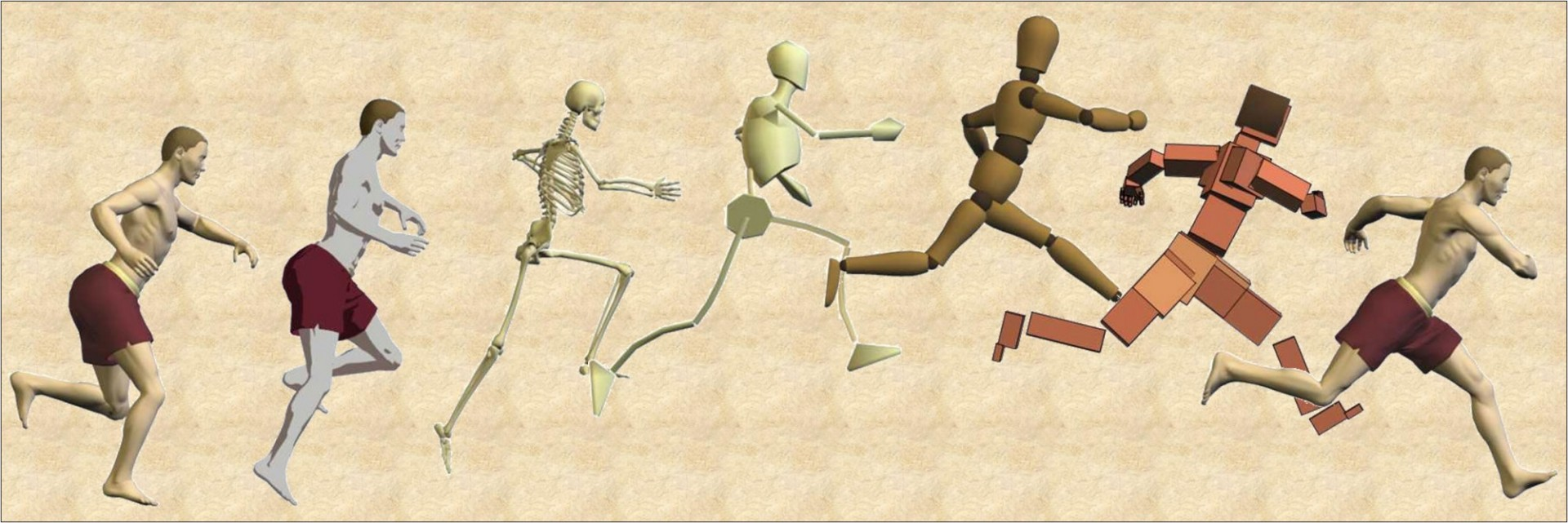 A nice computer generated image of several running people represented  as  humans, skeleton and blocks.